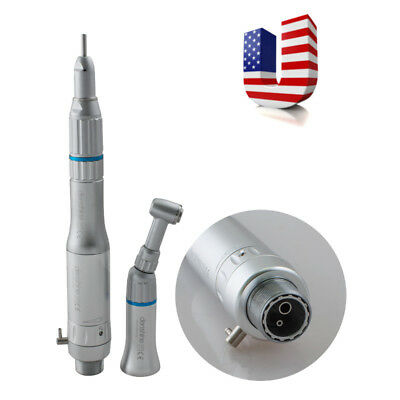 Dental Low Speed Handpiece Kit Push Contra Angle Cone Air Motor 2 Hole