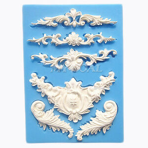 Baroque Sculpted Flower Lace Silicone Fondant Mould Cake Decor Sugar Icing Mold