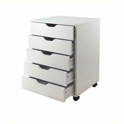 Scranton Co 5 Drawer Wood Mobile File Cabinet In White