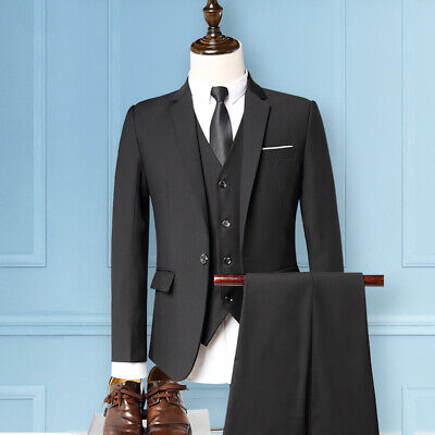 Cheap Men's Suits Tuxedos Business 3 Pieces Slim fit One Vent Formal In Stock
