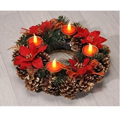 Adventskranz beleuchtet mit 10 LED Türkranz Weihnachtskranz Deko Hänger Kranz