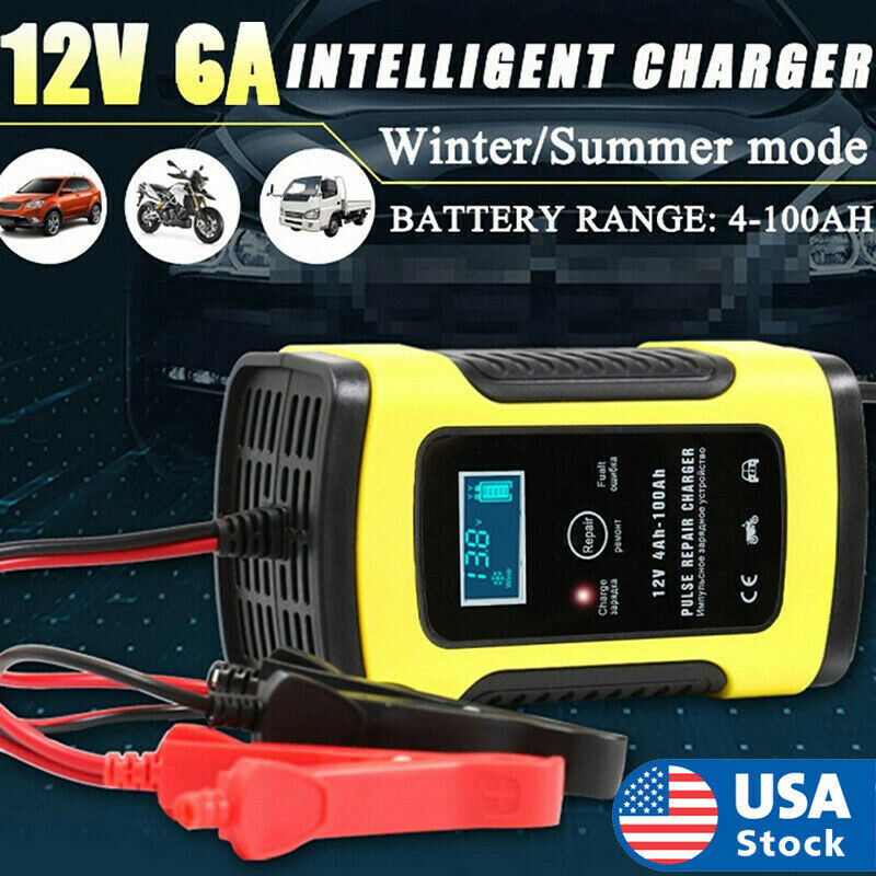 Battery Charger For Car And Motorcycle Repair LCD Lead Acid 12V 6A Pulse Kit Automotive Tools & Supplies
