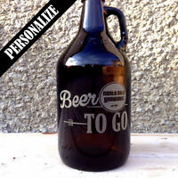 Beer Growlers with custom designed engraving for groomsmen