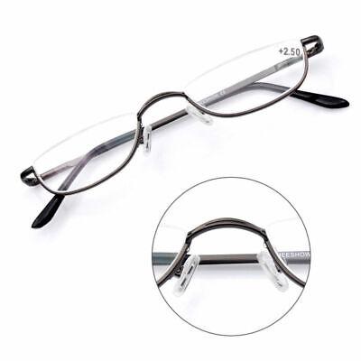 Herren Damen Halbmond Lesebrille mit halben Brille Rotguss Metall +1,0 ~+4,0 EDE