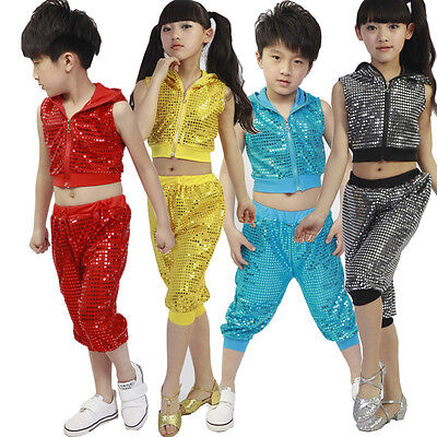 Dance Costumes Boys (Sequins Girls Boys Modern Jazz Hip Hop Dance Costumes Kids Dancewear)