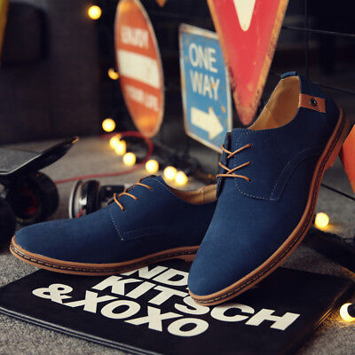 Men Oxfords Leather Shoes Dress Formal Lace Up Flats Loafers Suede Casual