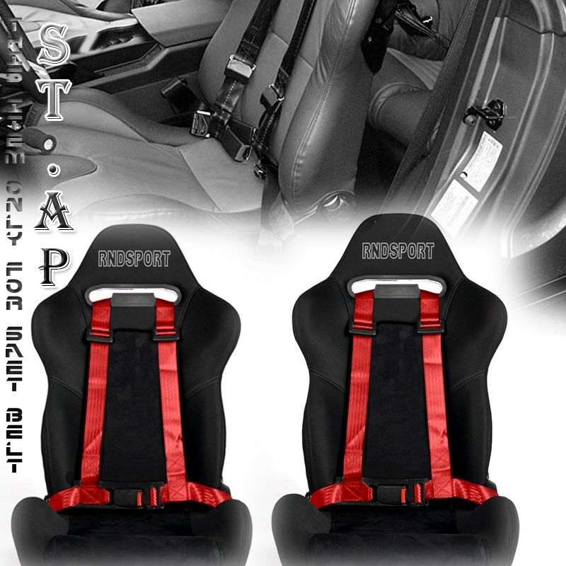 """US-CAR 2X JDM 4-POINT RACING SAFETY HARNESS 2/"""" INCH STRAP SEAT BELT BLK//YL TWO"""