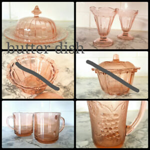 pink depression glass verre rose ere depression