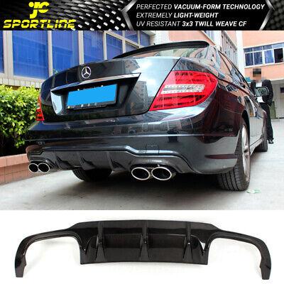 Fits 12-14 Mercedes-Benz C Class W204 C63 Carbon Fiber Rear Bumper Diffuser