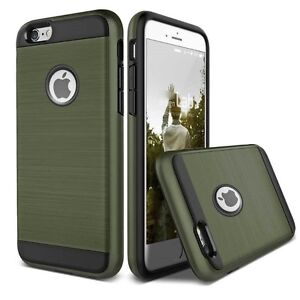 TOUGH ARMY GREEN HYBRID BRUSHED HEAVY DUTY CASE FOR IPHONE 7, 7+