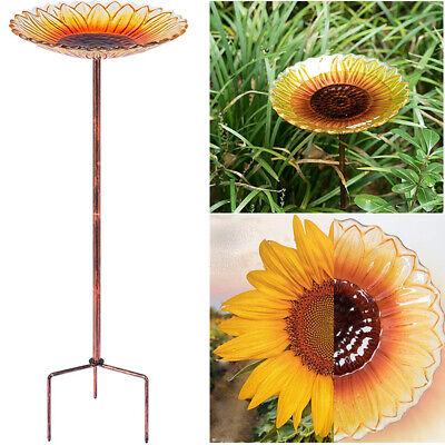 24''Height Sunflower Glass Bird Bath w/ Metal Stake Outdoor Garden Yard Birdbath