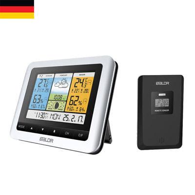 Funk Wetterstation LCD Farbdisplay Thermometer Hygrometer Außensensor Funkuhr DE