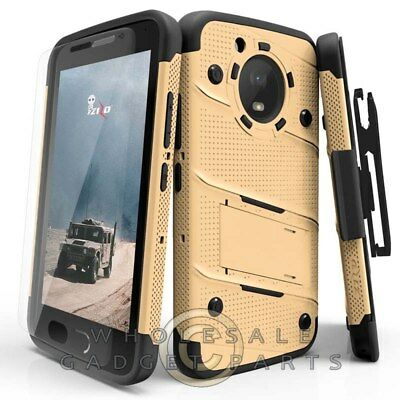 Motorola Moto E4 Bolt Case W/Stand - Gold/Black Guard Shield