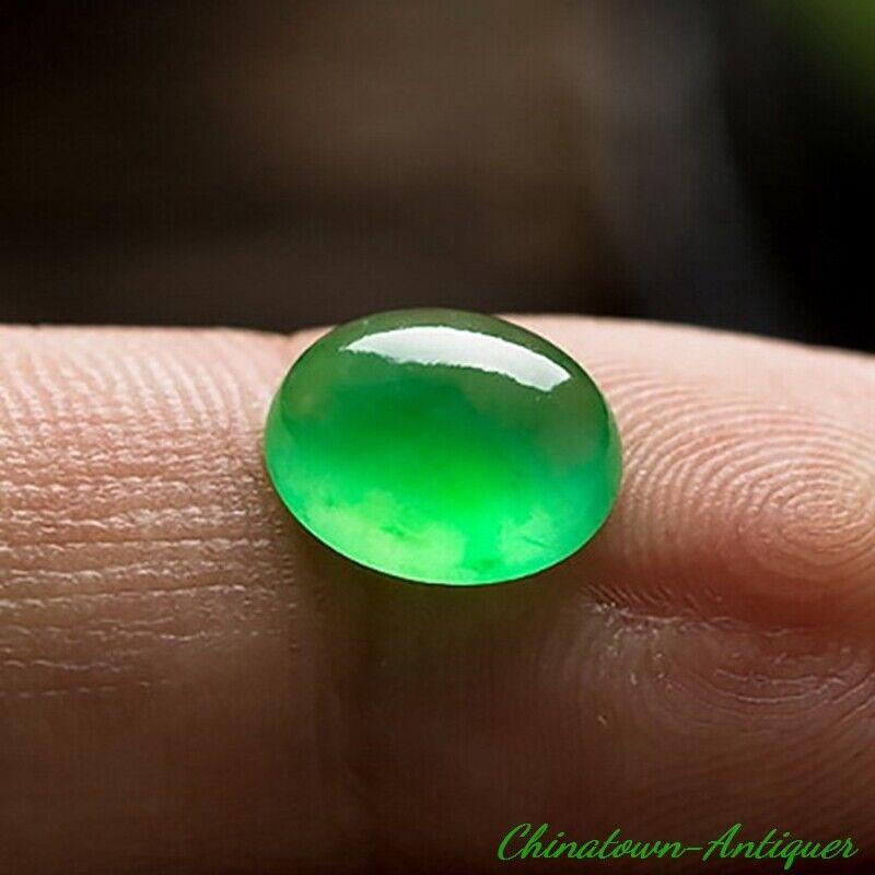 Certified Burma Grade A Ice Yang Green Jadeite Jade Sphere Loose Gemstones #2564