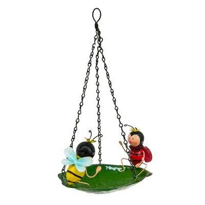 Bee & Ladybird Hanging Garden Bird Bath Feeder Metal Small Mini Decorative