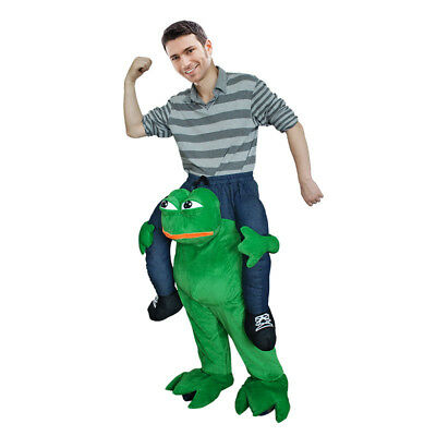 Halloween Sad Frog Mascot Costume Suit Ride On Animal Piggy Me Back Dress L US](Sadness Costume Halloween)