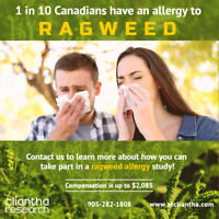 Participants for Paid Ragweed Allergy Study