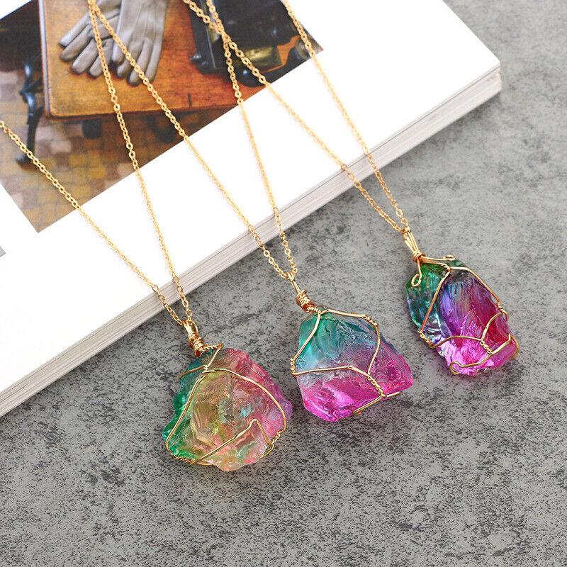 Jewellery - Natural Crystal Pendulum Quartz Stone Pendant Chakra Healing Gemstone Necklace .