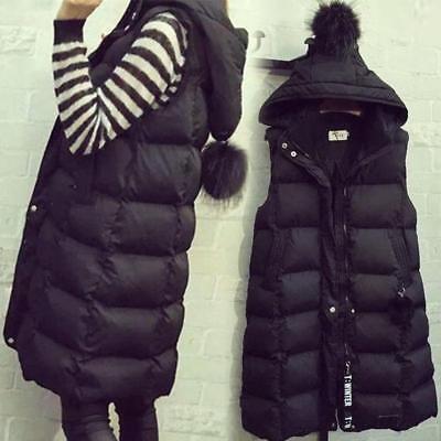 Womens Slim fit zip Down cotton  long Hoodie Waistcoat Vest