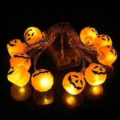 10LED Halloween Decoration Pumpkin Spider Bat Skull String Light Lamp DIY Horror