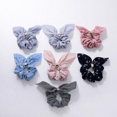 Summer Stripe Flower Bunny Scrunchies Hair Bow Elastic Ropes Hair Ties Ponytail