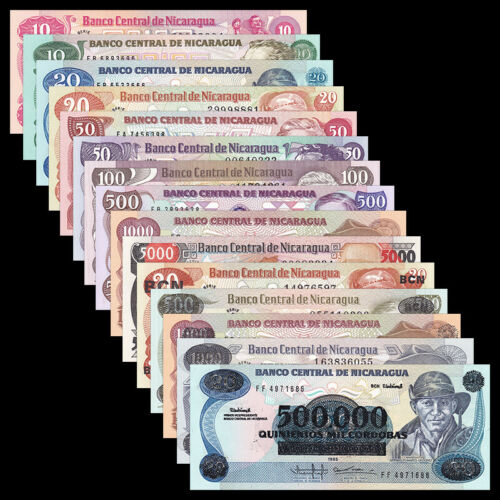 Nicaragua Set 15 PCS, (10 20 50) *2 + 100-500000 Cordobas, 1979-1985, UNC