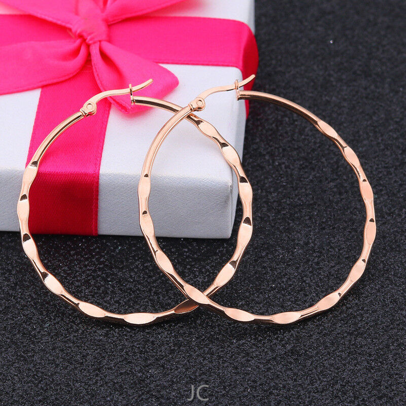 Women Stainless Steel Rose Gold Luxury 60 mm Round Concave-c