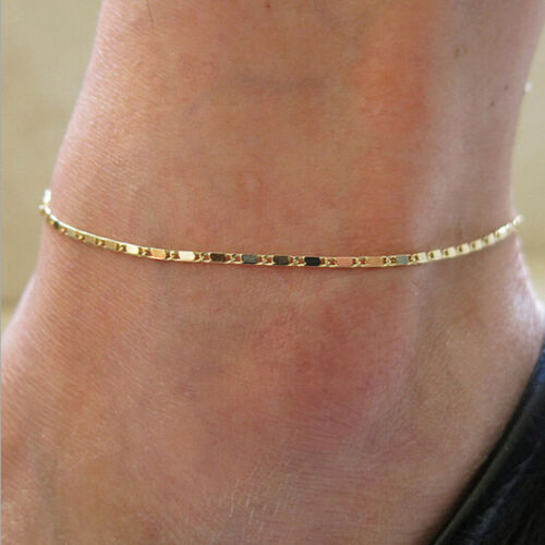 UK Beach Classic Charm Crystal Rose Gold Ankle Bracelet Chain Barefoot  Anklet