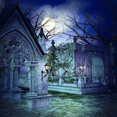 Halloween Scary Graveyard Abstract Backdrop 8x8ft Background Studio Props Photo (Graveyard Backdrop)