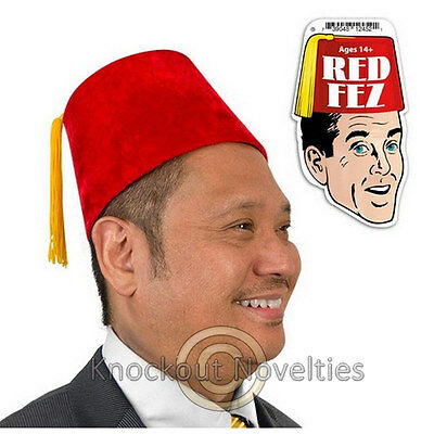 Red Fez Dr Who Fezzes Fezz Hat Cap Head Hair Accessory Costume Velour Average