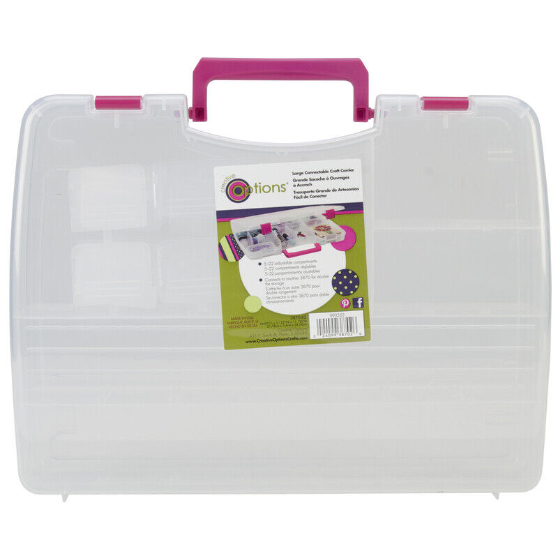 Creative Options Pro Latch Connectable Satchel 5-22 Compart,Clear W/Magenta