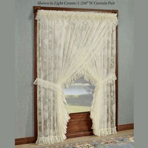 2 Pair of Priscilla style curtains with tiebacks--Lace!