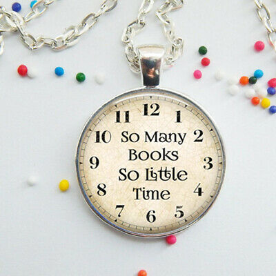 Necklace Clock Pendant (Clock Glass Necklace Pendant Book Lover Gift Letter)