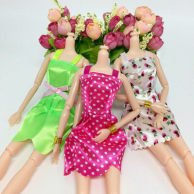 10Pcs Fashion Handmade Dresses Clothes For Doll Style Random Gift Set