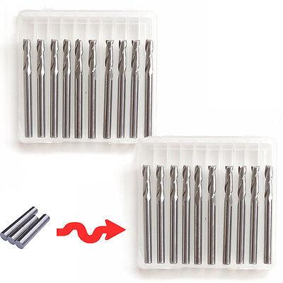20x 18 Carbide Flat Nose End Mill Cnc Router Bits Double Flute Spiral Set Kit