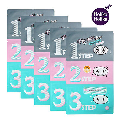 Beauty Holika Holika Pig-Nose Clear Blackhead 3-STEP KIT Strips Packs Masks Peel
