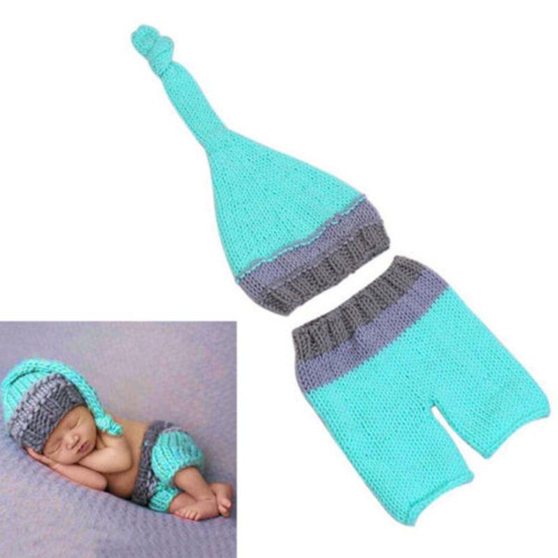 Baby Strickmütze Fotoshooting Kostüm Neugeborenen Junge Mädchen Newborn 2tlg