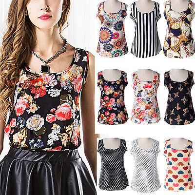 NEW Fashion Women Casual Short Sleeve Flower Printed Chiffon T-shirt Tops Blouse (Fashion Women Casual Chiffon)
