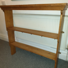 Wall shelving unit. Open backed Victorian original pine. Free delivery