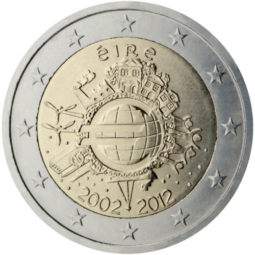 "2012 Ireland € 2 Euro Uncirculated Coin ""10 Years of the Euro"""