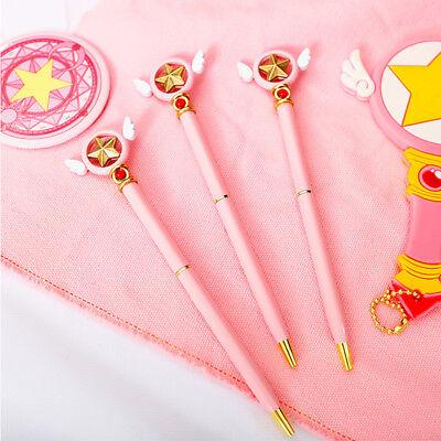 Anime Card Captor Sakura Star Wing Magic Pink Ballpoint Pen Stationery