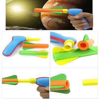 Foam Rocket Launcher (Soft Foam Rocket Flyer Air Pump Shooter Gun Launcher Outdoor Kids Child Toy)