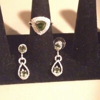 REDUCED: Peridot ring and earrings set