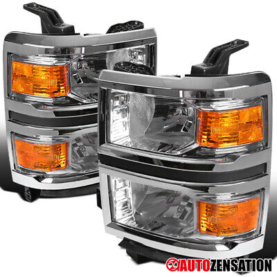 For 2014-2015 Chevy Silverado 1500 Clear Lens Headlights Lamps Left+Right Pair