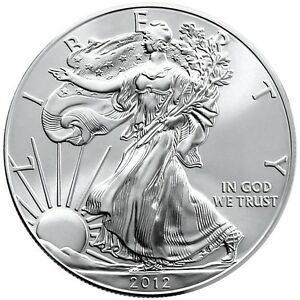(1) 2012 1oz. Gem BU .999 SILVER AMERICAN  EAGLE  w/Air-tite