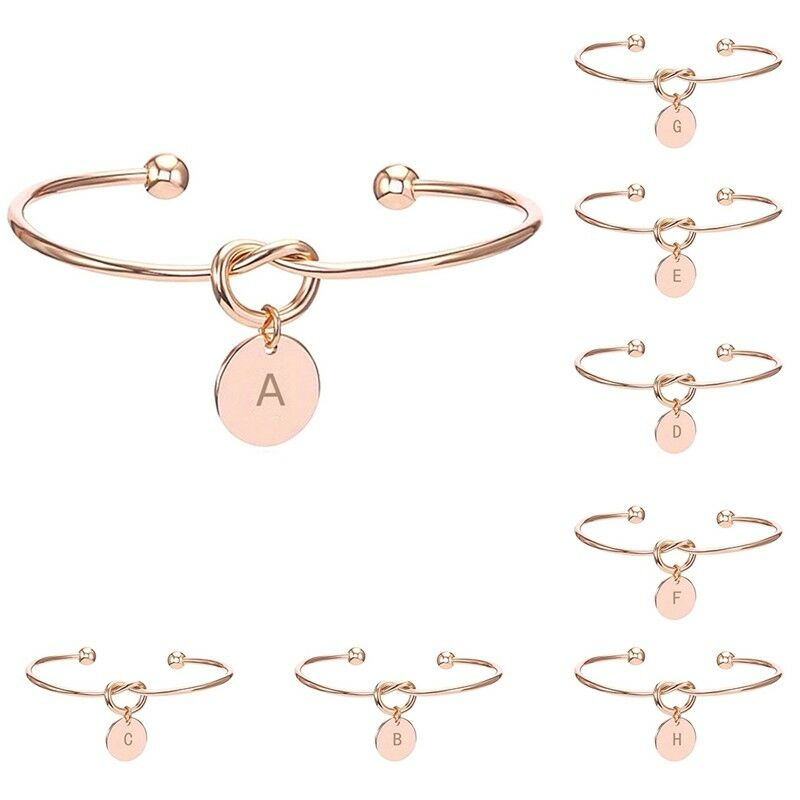 Jewellery - BUY 2 GET 1 FREE Creative Simple Initial Knot Bracelet Opening Bangle Jewelry UK