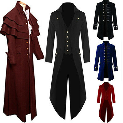 Men Medieval Steampunk Frock Coat Retro Gothic Victorian Jacket Uniform - Gothic Costumes For Men