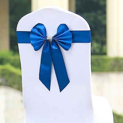 5 Royal Blue Reversible Satin Faux Leather Bow Tie Chair Sashes with Buckles Blue Faux Satin Bow