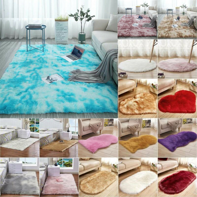 Fluffy Faux Fur Rug Area Rugs Hairy Soft Shaggy Bedroom Home