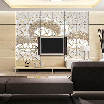 (32pcs DIY 3D Acrylic Removable Mirror Wall Stickers Decals Art Vinyl Home Decor)